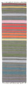 Rainbow Stripe - グレー 絨毯 80X250 モダン 手織り 廊下 カーペット 濃いグレー/薄い灰色 (綿, インド)