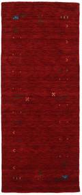 ギャッベ ルーム Frame - 赤 絨毯 80X200 モダン 廊下 カーペット 深紅色の (ウール, インド)