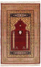 Herike Tu 絨毯 82X130 オリエンタル 手織り 深紅色の/薄茶色 (絹, トルコ)