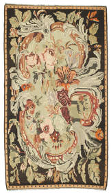 薔薇 キリム 絨毯 180X315 オリエンタル 手織り 茶/暗めのベージュ色の (ウール, モルドバ)