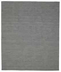 キリム ルーム - 濃いグレー 絨毯 250X300 モダン 手織り 深緑色の/薄い灰色 大きな (ウール, インド)