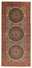 タブリーズ 60 Raj 絹の縦糸 絨毯 200X450 オリエンタル 手織り 廊下 カーペット 茶/濃い茶色 (ウール/絹, ペルシャ/イラン)
