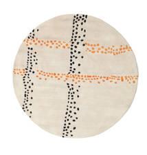 Delight Handtufted - オレンジ 絨毯 Ø 150 モダン ラウンド ベージュ/薄い灰色 (ウール, インド)