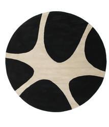 Stones Handtufted - 黒 絨毯 Ø 225 モダン ラウンド 黒/薄い灰色 (ウール, インド)