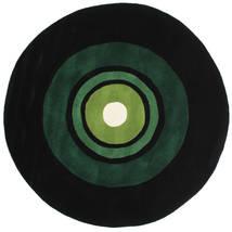 Schallplatte Handtufted 絨毯 Ø 150 モダン ラウンド 深緑色の (ウール, インド)