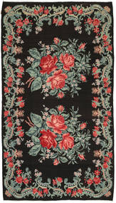 薔薇 キリム 絨毯 186X331 オリエンタル 手織り 濃いグレー/深緑色の (ウール, モルドバ)