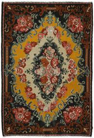 薔薇 キリム 絨毯 221X321 オリエンタル 手織り 黒/濃い茶色 (ウール, モルドバ)