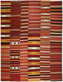 キリム パッチワーク 絨毯 355X444 モダン 手織り 深紅色の/赤 大きな (ウール, トルコ)