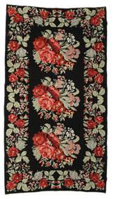 薔薇 キリム Moldavia 絨毯 174X321 オリエンタル 手織り 黒/濃い茶色 (ウール, モルドバ)