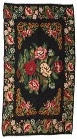 薔薇 キリム Moldavia 絨毯 176X338 オリエンタル 手織り 黒/深緑色の (ウール, モルドバ)