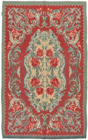 薔薇 キリム Moldavia 絨毯 154X242 オリエンタル 手織り 錆色/オリーブ色 (ウール, モルドバ)