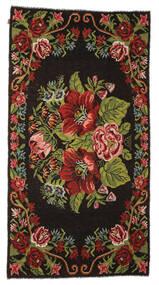 薔薇 キリム Moldavia 絨毯 176X329 オリエンタル 手織り 濃い茶色 (ウール, モルドバ)