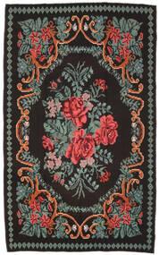 薔薇 キリム Moldavia 絨毯 171X278 オリエンタル 手織り 黒/濃いグレー (ウール, モルドバ)