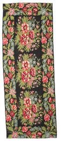 薔薇 キリム Moldavia 絨毯 166X452 オリエンタル 手織り 廊下 カーペット 黒/ライトグリーン (ウール, モルドバ)