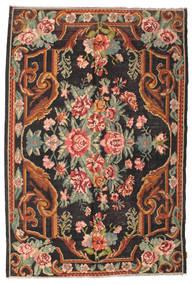 薔薇 キリム Moldavia 絨毯 184X277 オリエンタル 手織り 黒/濃いグレー (ウール, モルドバ)