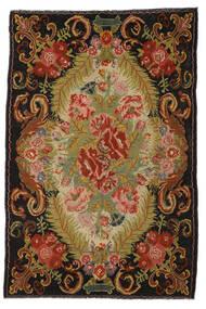 薔薇 キリム Moldavia 絨毯 194X297 オリエンタル 手織り 赤/濃い茶色 (ウール, モルドバ)