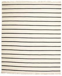 ドリ Stripe - 白/黒 絨毯 250X300 モダン 手織り ベージュ/ホワイト/クリーム色 大きな (ウール, インド)
