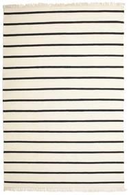 ドリ Stripe - 白/黒 絨毯 200X300 モダン 手織り ベージュ/濃いグレー (ウール, インド)