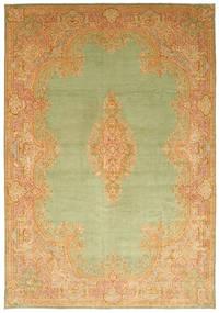 ケルマン 絨毯 394X570 オリエンタル 手織り 暗めのベージュ色の/ライトグリーン/薄茶色 大きな (ウール, ペルシャ/イラン)