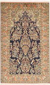 カシミール ピュア シルク 絨毯 95X159 オリエンタル 手織り 薄茶色/濃いグレー (絹, インド)