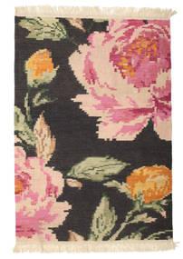 キリム カラバフ Sofia - 黒 絨毯 100X160 モダン 手織り 濃いグレー/ライトピンク (ウール, インド)