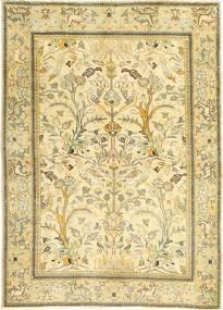 タブリーズ パティナ 絨毯 100X140 オリエンタル 手織り ベージュ/暗めのベージュ色の/ライトグリーン (ウール, ペルシャ/イラン)