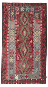 キリム セミアンティーク トルコ 絨毯 155X279 オリエンタル 手織り 濃い茶色/赤 (ウール, トルコ)