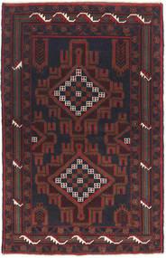 バルーチ 絨毯 82X135 オリエンタル 手織り 黒/濃い茶色 (ウール, アフガニスタン)