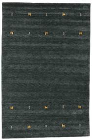 ギャッベ ルーム Two Lines - 濃いグレー/グリーン 絨毯 190X290 モダン 黒 (ウール, インド)