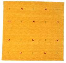 ギャッベ ルーム Two Lines - 黄色 絨毯 200X200 モダン 正方形 オレンジ/黄色 (ウール, インド)