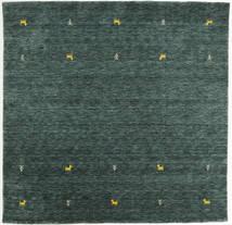ギャッベ ルーム Two Lines - 濃いグレー/グリーン 絨毯 200X200 モダン 正方形 深緑色の/ターコイズ (ウール, インド)