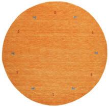 ギャッベ ルーム Two Lines - オレンジ 絨毯 Ø 200 モダン ラウンド オレンジ (ウール, インド)