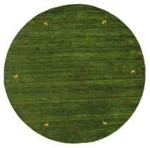 ギャッベ ルーム Two Lines - グリーン 絨毯 Ø 200 モダン ラウンド 深緑色の (ウール, インド)