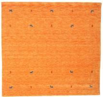 ギャッベ ルーム Two Lines - オレンジ 絨毯 200X200 モダン 正方形 オレンジ (ウール, インド)
