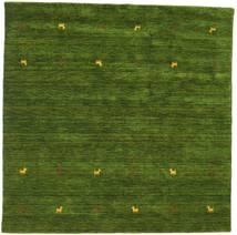ギャッベ ルーム Two Lines - グリーン 絨毯 200X200 モダン 正方形 深緑色の (ウール, インド)
