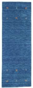 ギャッベ ルーム Two Lines - 青 絨毯 80X250 モダン 廊下 カーペット 紺色の/青 (ウール, インド)