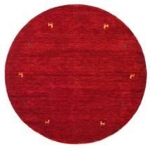 ギャッベ ルーム Two Lines - 赤 絨毯 Ø 150 モダン ラウンド 赤/深紅色の (ウール, インド)