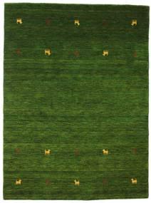 ギャッベ ルーム Two Lines - グリーン 絨毯 140X200 モダン 深緑色の (ウール, インド)
