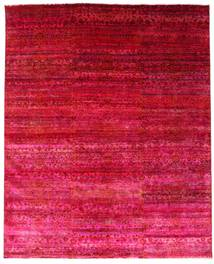 Sari ピュア シルク 絨毯 244X300 モダン 手織り 赤/ピンク (絹, インド)