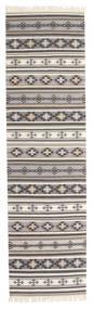 キリム Cizre 絨毯 80X300 モダン 手織り 廊下 カーペット 薄い灰色/ベージュ (ウール, インド)