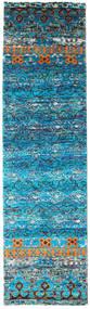 Quito - ターコイズ 絨毯 80X300 モダン 手織り 廊下 カーペット ターコイズブルー/青 (絹, インド)