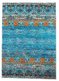 Quito - ターコイズ 絨毯 140X200 モダン 手織り ターコイズブルー/青 (絹, インド)