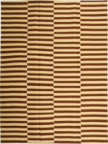 キリム モダン 絨毯 230X310 モダン 手織り 濃い茶色/暗めのベージュ色の (綿, ペルシャ/イラン)