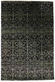 Damask 絨毯 203X305 モダン 手織り 黒/濃いグレー ( インド)