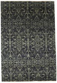 Damask 絨毯 174X257 モダン 手織り 濃いグレー/黒 ( インド)