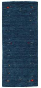 ギャッベ ルーム Frame - 紺色の 絨毯 80X200 モダン 廊下 カーペット 紺色の (ウール, インド)