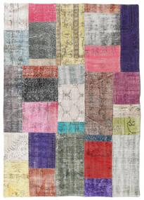 パッチワーク 絨毯 141X200 モダン 手織り 薄い灰色/濃い紫 (ウール, トルコ)