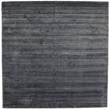 Bamboo シルク ルーム - チャコール 絨毯 250X250 モダン 正方形 紫/濃いグレー/黒 大きな ( インド)