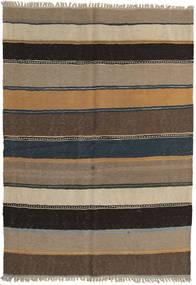 キリム 絨毯 142X203 オリエンタル 手織り 薄い灰色/薄茶色/濃いグレー/黒 (ウール, ペルシャ/イラン)