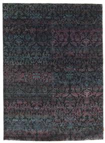Sari ピュア シルク 絨毯 177X243 モダン 手織り 濃いグレー/濃い紫 (絹, インド)